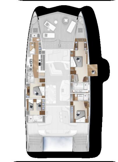 Lagoon 78 - Cubierta baja modelo 4 cab. con playa
