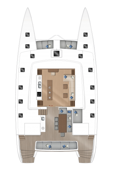 Lagoon 560 - Main deck - central galley