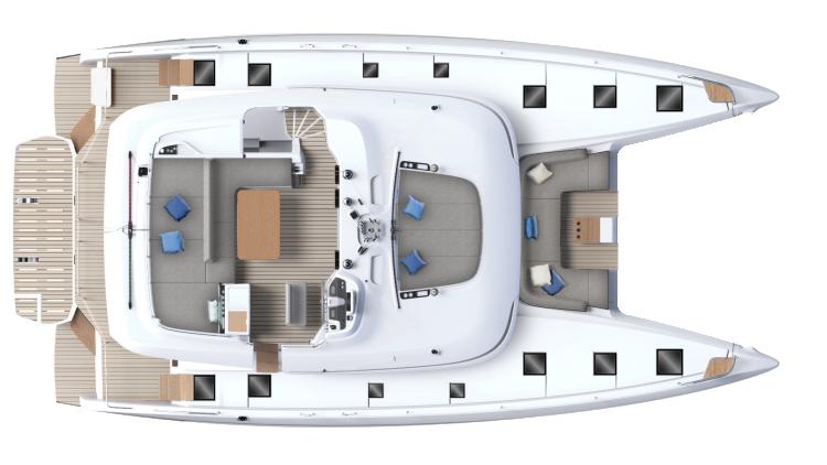 Flybridge - accès tribord & bains de soleil